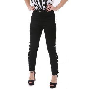 IRO Biba Black High Rise Side Snap Skinny Jeans